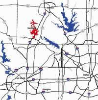 Location of Northlake in North Texas